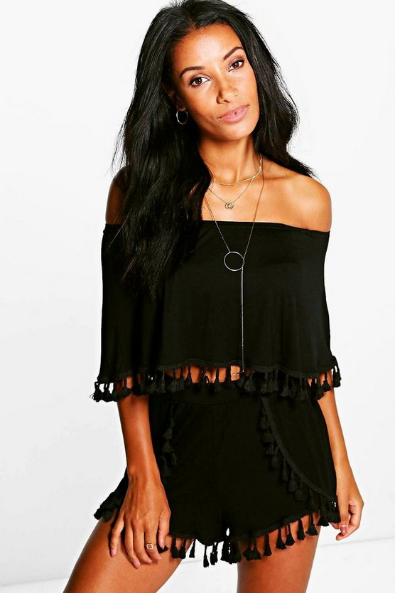 Tassel Crop And Shorts Co-Ord Set