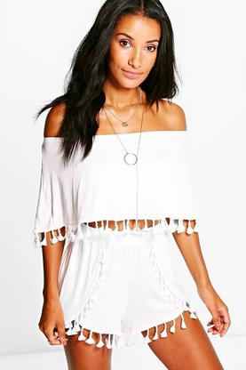 Emma Tassel Crop And Shorts Co-Ord Set