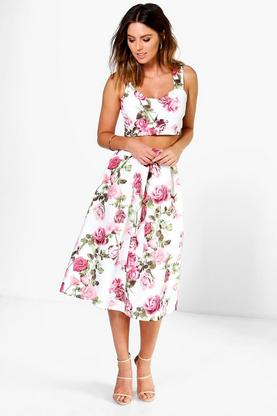 Lola Floral Print Top And Midi Skirt Co-Ord