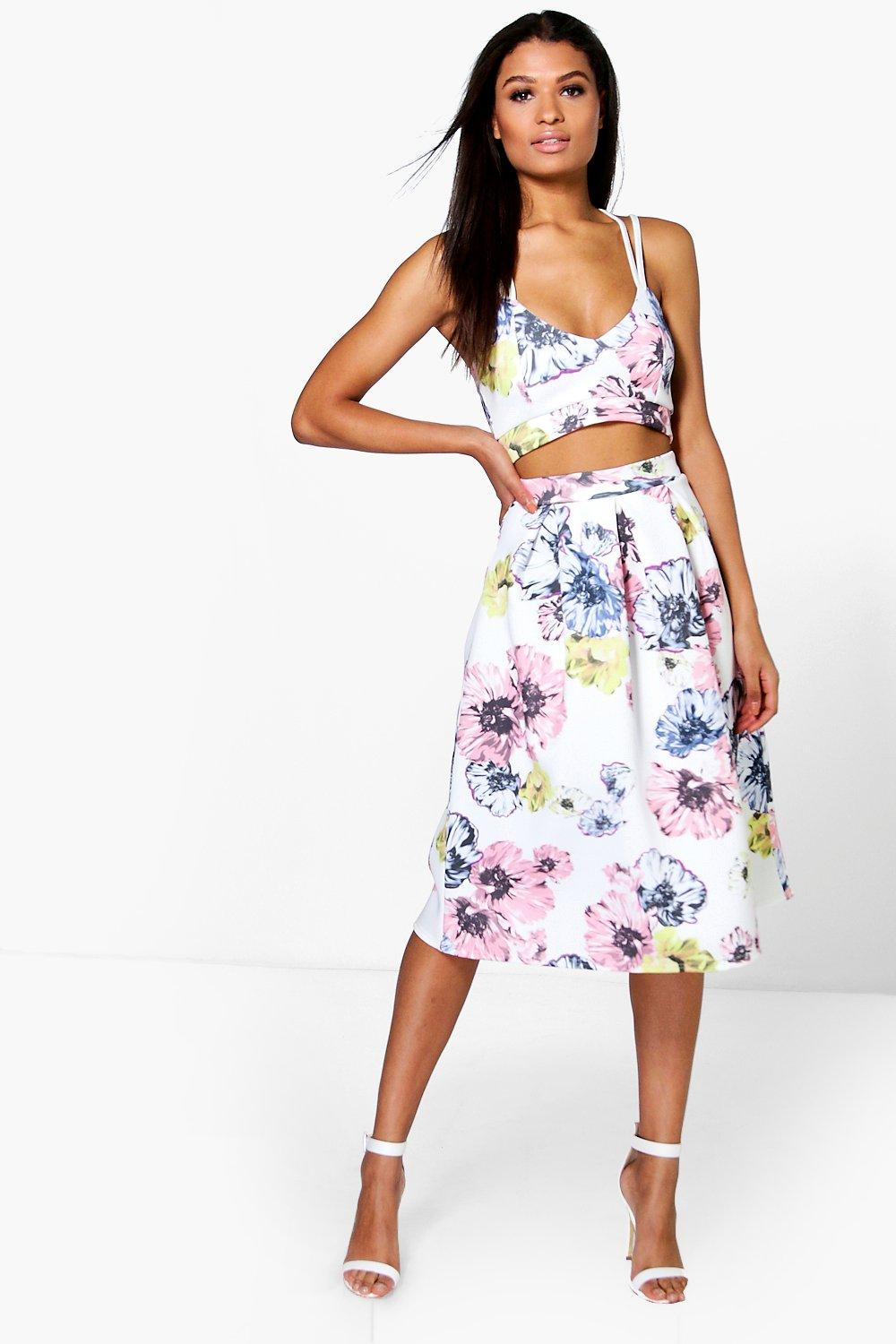 Sally Floral Print Top And Midi Skirt Co-Ord