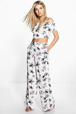 Ona Floral Top And Wide Leg Trouser Co-ord
