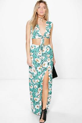 Amy Tropical Print Maxi And Crop Top Co-Ord