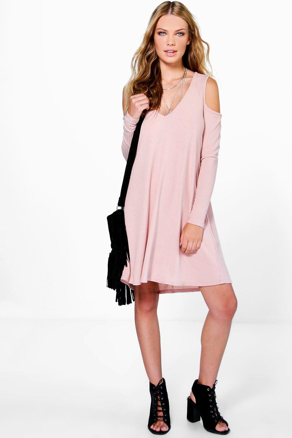 Sara V Neck Cold Shoulder Rib Knit Swing Dress