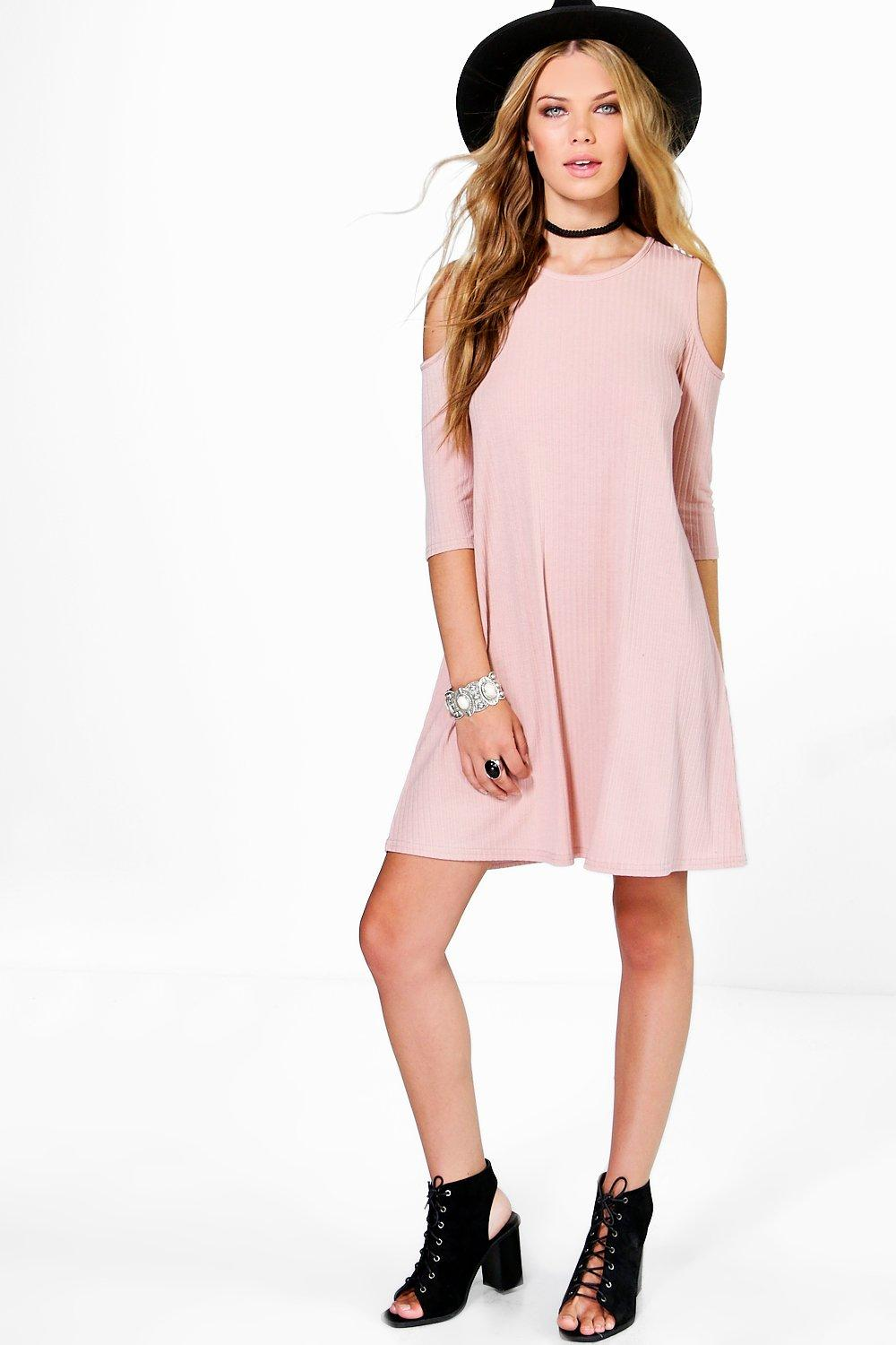 Lola Short Sleeve Cold Shoulder Rib Swing Dress
