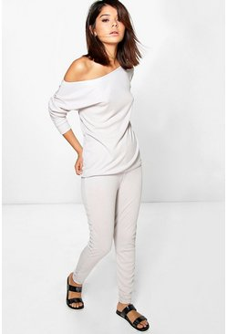 Amy Off The Shoulder Rib Knitted Loungewear Set