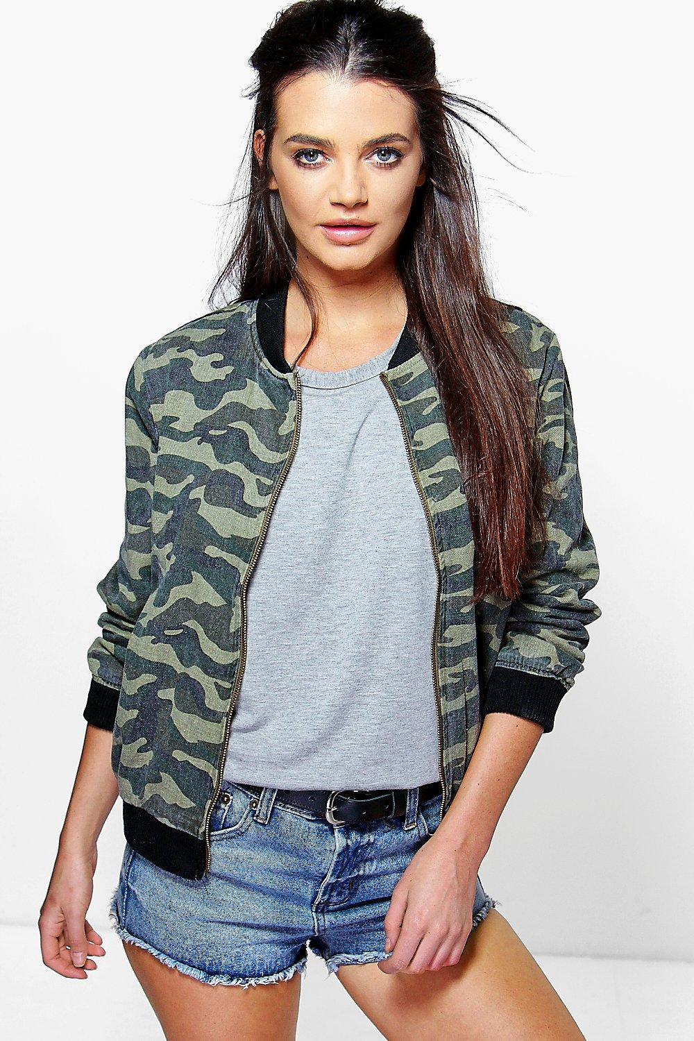 Ruby Camo Denim Bomber Jacket