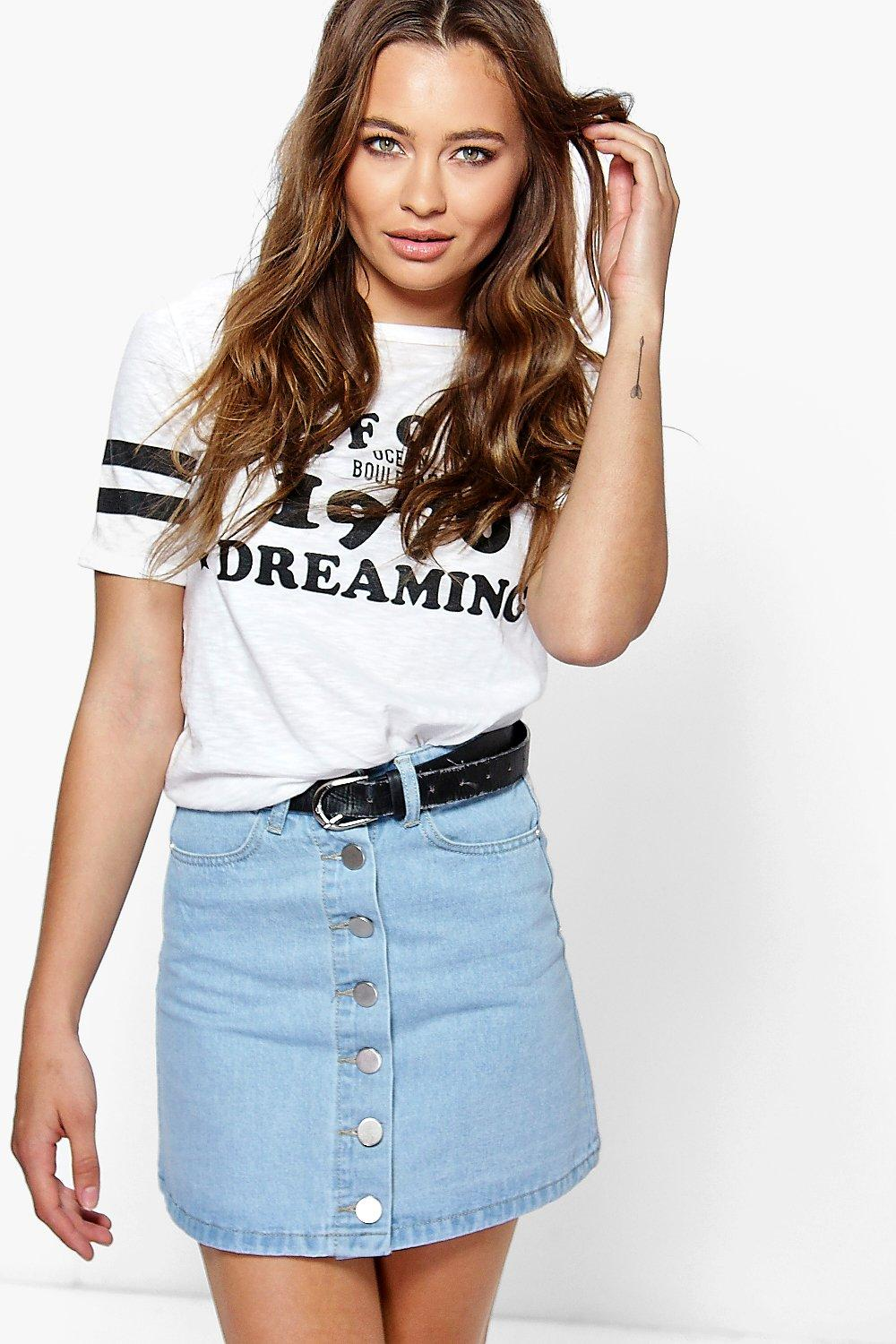 Sarah Button Front A-Line Denim Mini Skirt