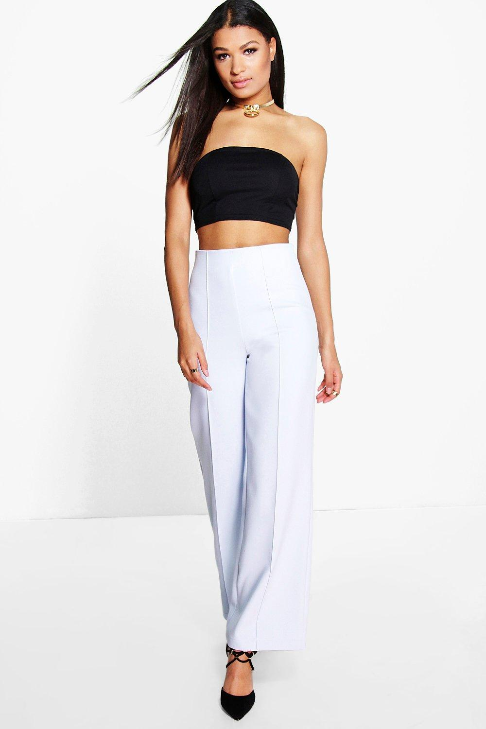 High Waisted Pin Tuck Kick Flare Trousers  sky