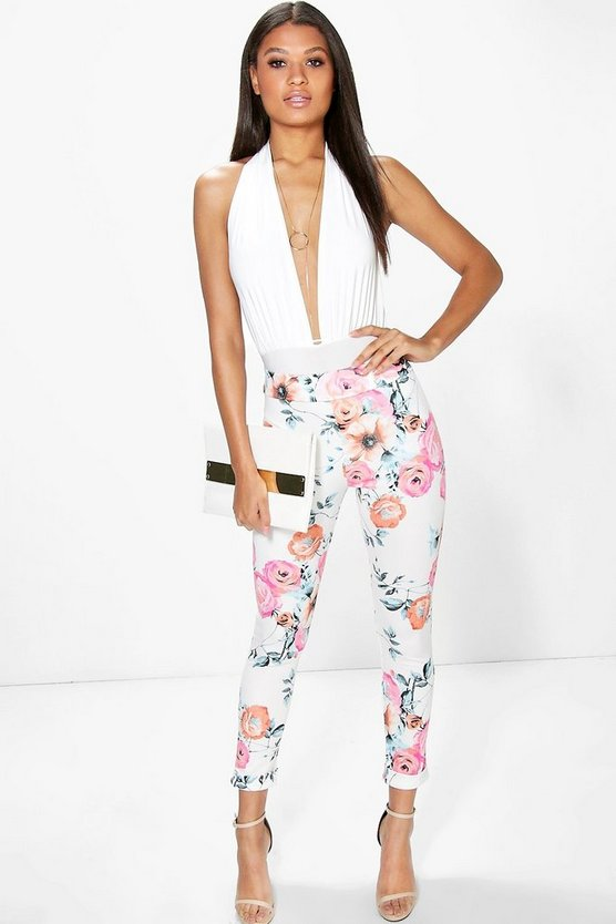 Avaline Summer Floral Skinny Scuba Trousers
