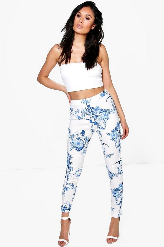 Paola Porcelain Blue Skinny Crepe Trousers