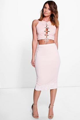 Adalina Crochet Trim Midi Skirt