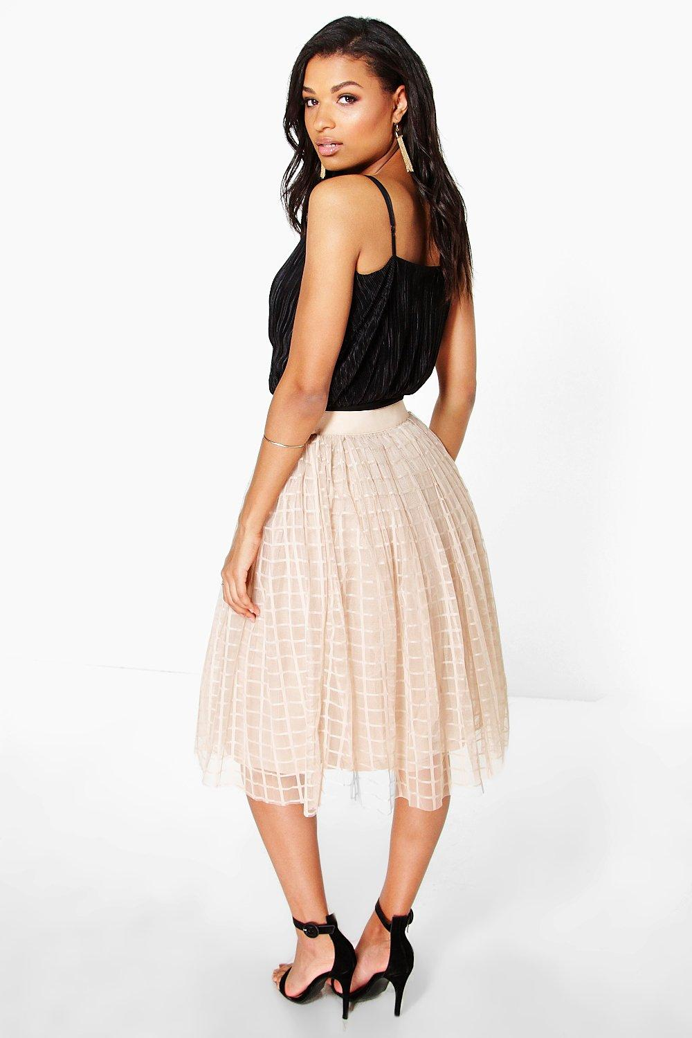 boohoo womens boutique marin grid tulle midi skirt in