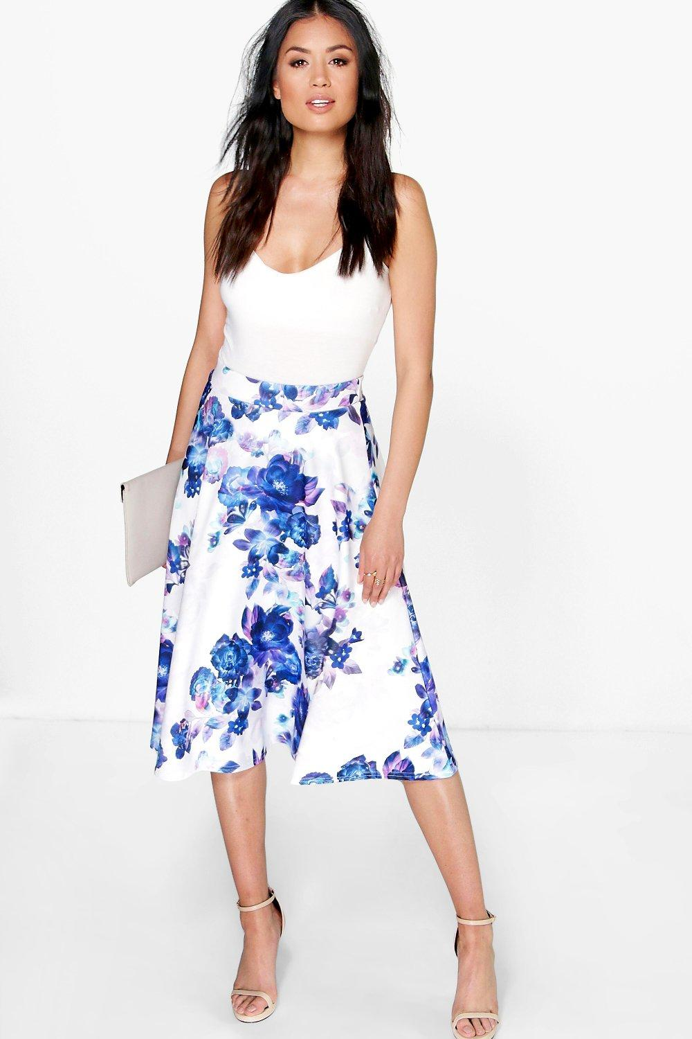 Orla Large Floral Full Midi Skirt