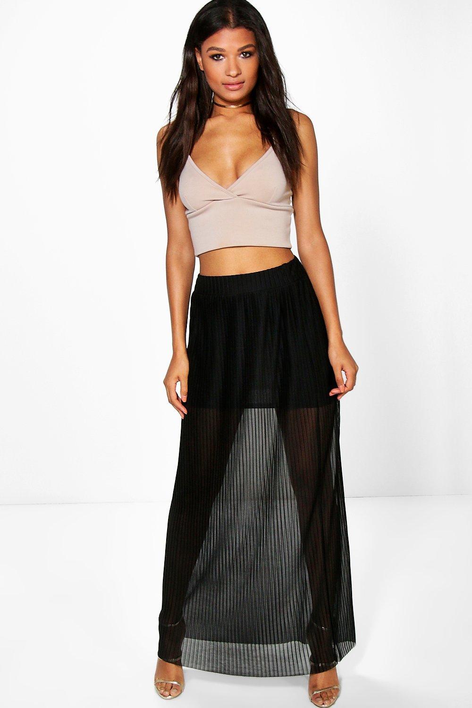 Pleated Mesh Maxi Skirt black