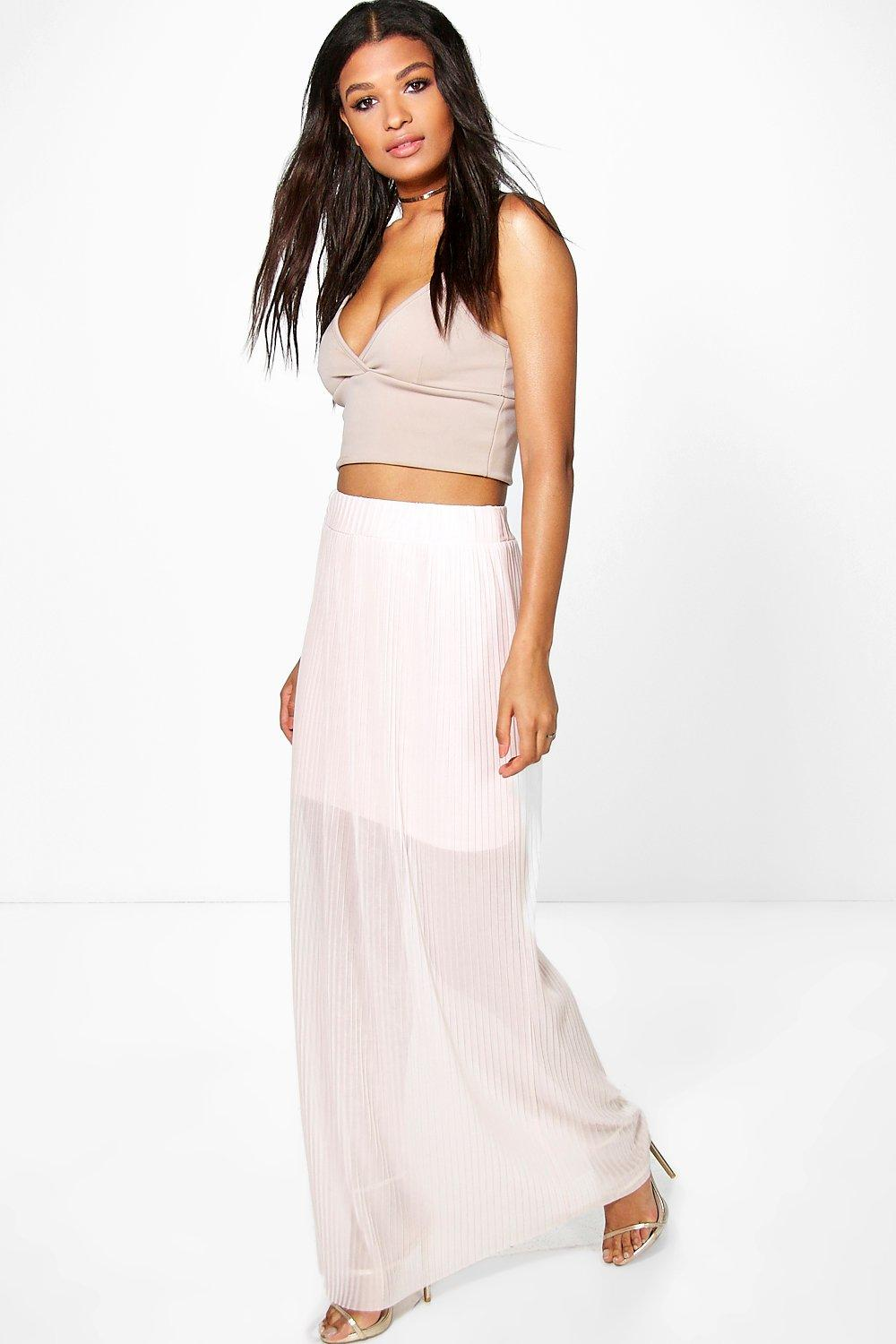 Layla Pleated Mesh Maxi Skirt