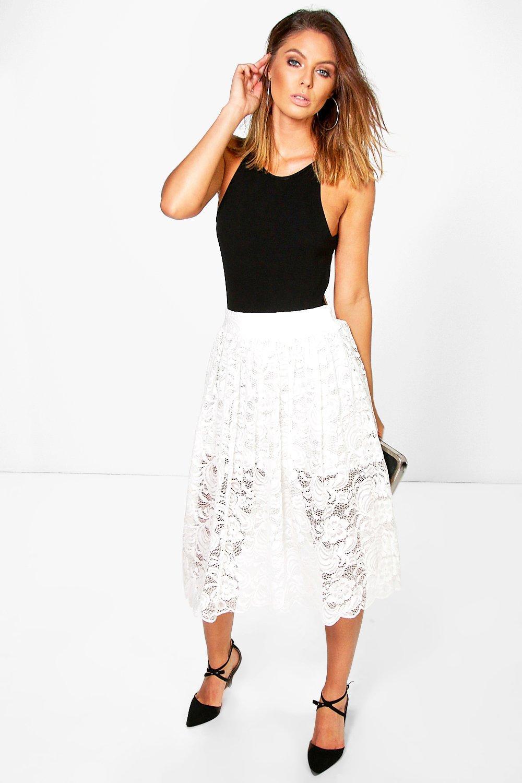 Full Lace Skater Skirt ivory