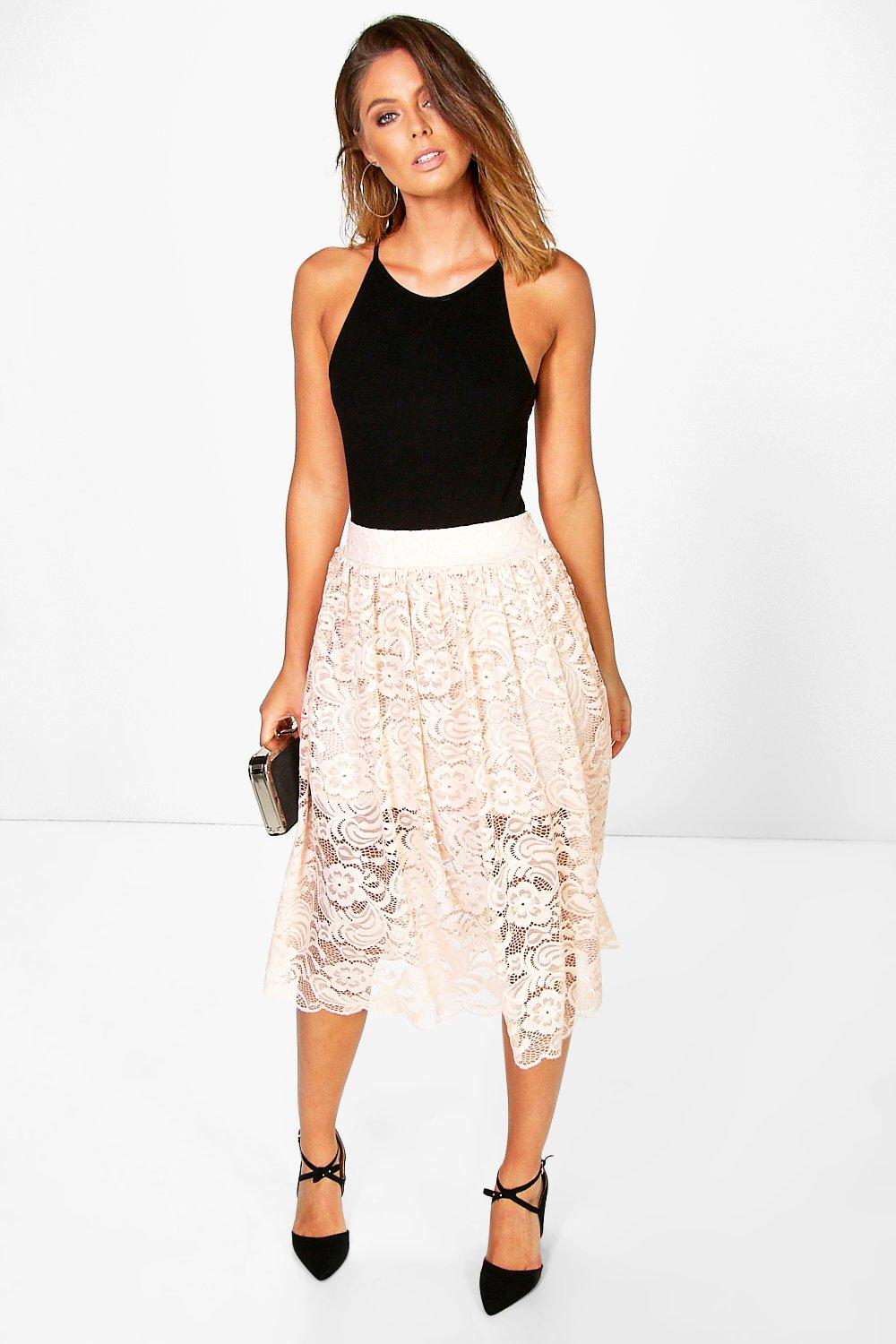Full Lace Skater Skirt nude