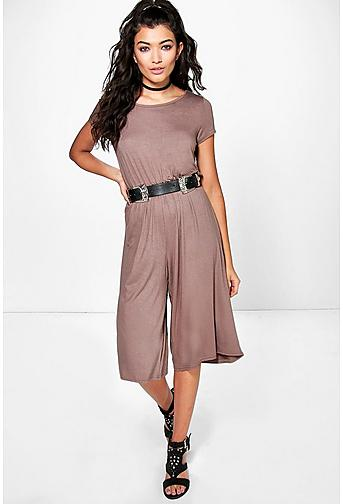 Abby Cropped Sleeve Jersey Culottes Jumpsuit