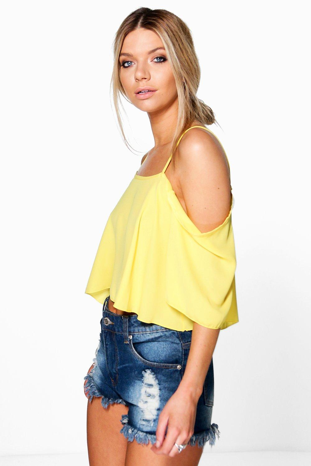 Cold Shoulder Crop Cami yellow