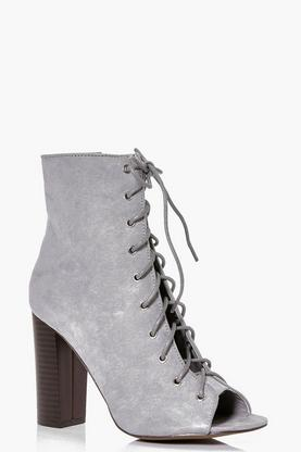 Florence Lace Up Shoe Boot Heel