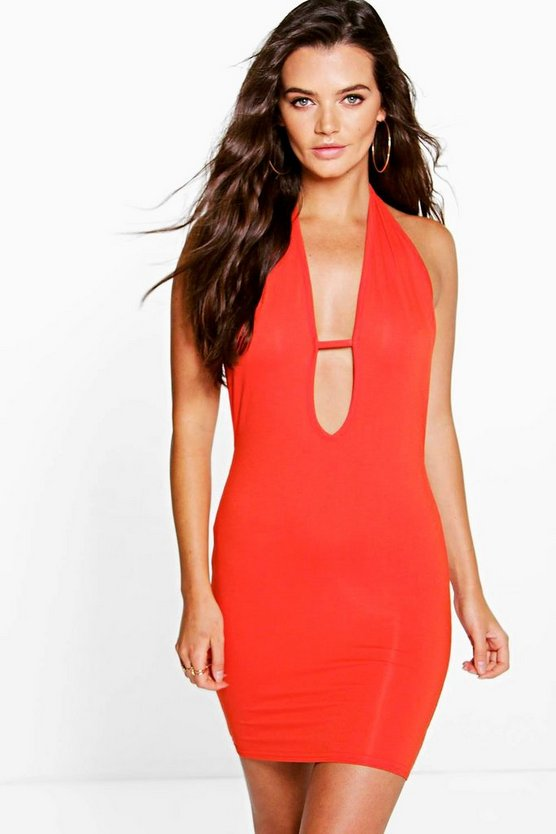 Jay Halter Strap Detail Plunge Midi Dress