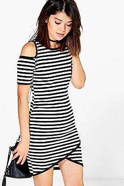 Oana Stripe Cold Shoulder Bodycon Dress