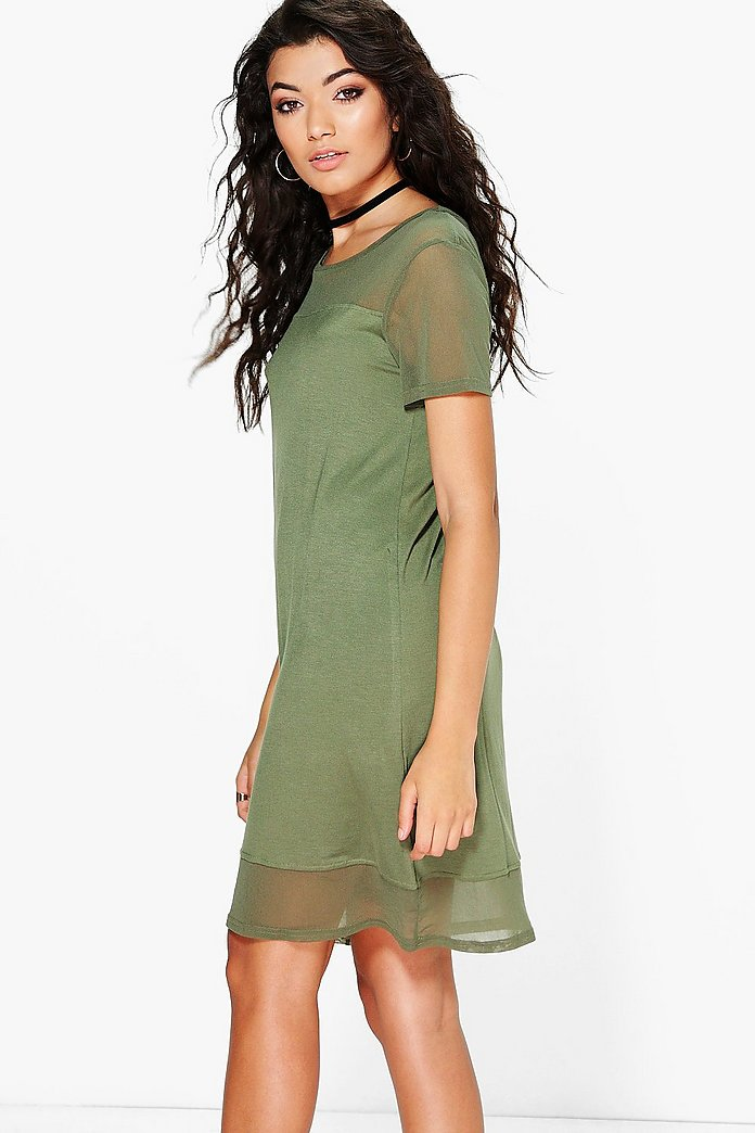 Brenda Mesh Panel T-Shirt Dress