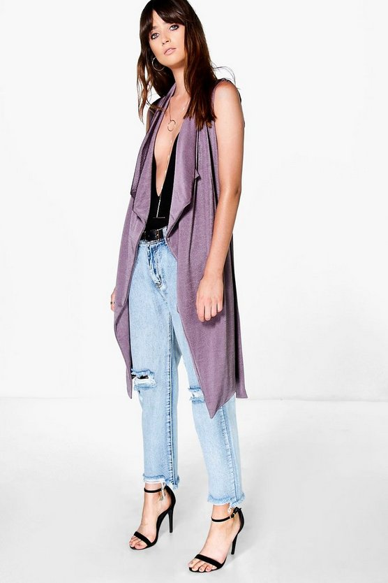 Eloise Sleeveless Waterfall Slinky Duster