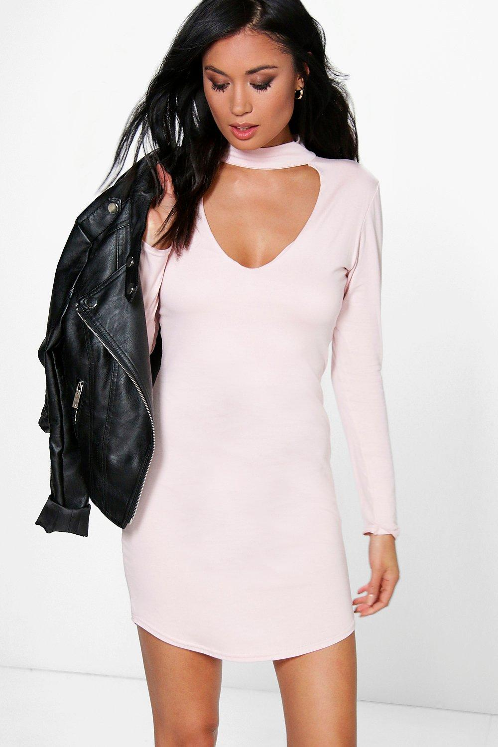 Cait High Neck Curved Hem Bodycon Dress