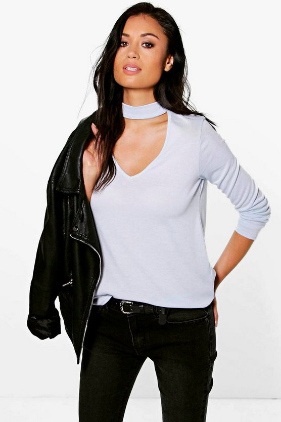 Diana Choker Plunge Neck Knitted Jumper
