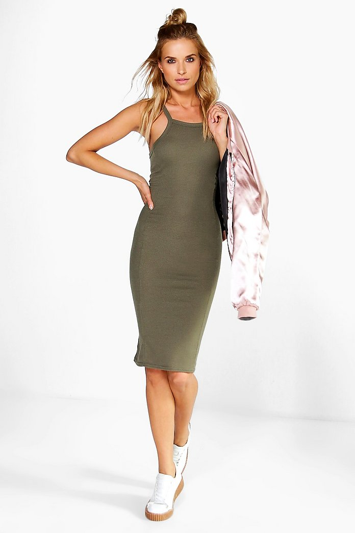 Charly High Neck Ribbed Midi Dress