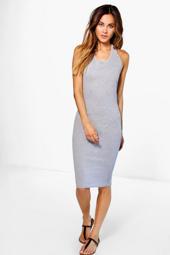Ally Halterneck Ribbed Basic Midi Dress