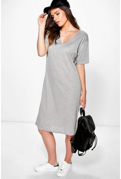 Bridget Midi V Neck Ribbed Shift Dress