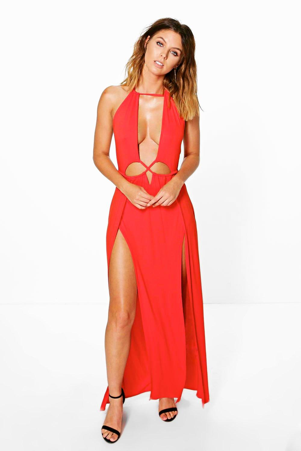 Hallie Cut Out Halter Neck Maxi Dress