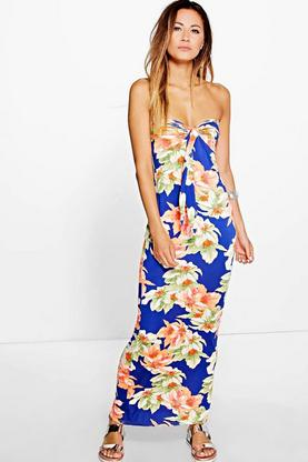 Rosie Floral Printed Bandeau Maxi Dress