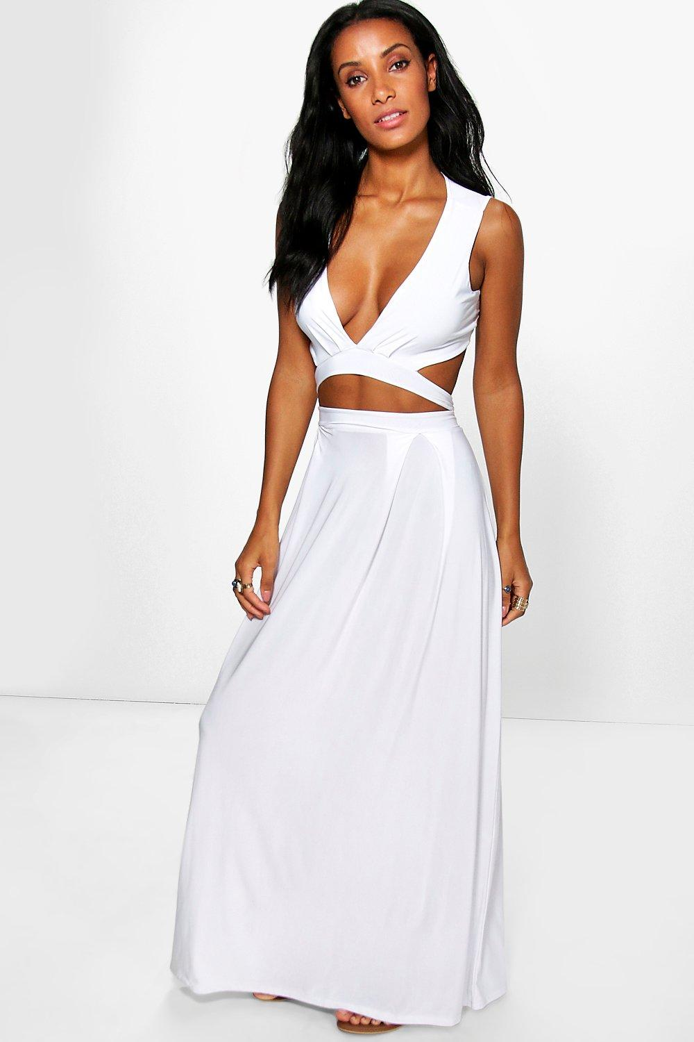 Carmen Cut Out V Neck Soft Touch Maxi Dress