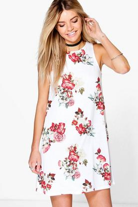 Eleanor Floral High Neck Swing Dress