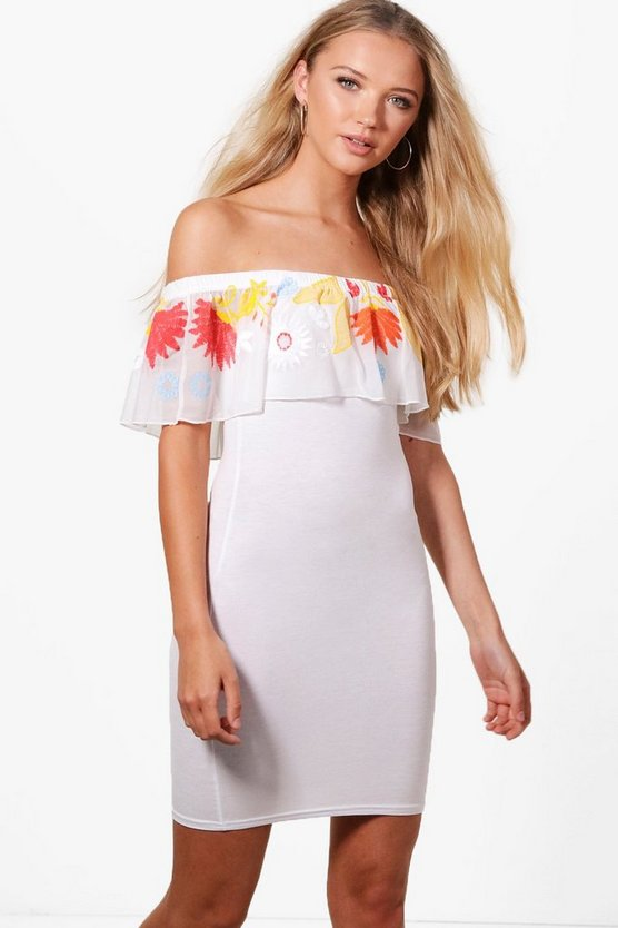 Aly Embroidered Mesh Frill Bodycon Dress
