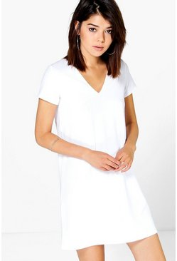 Honey Crepe V Neck Cap Sleeve Shift Dress