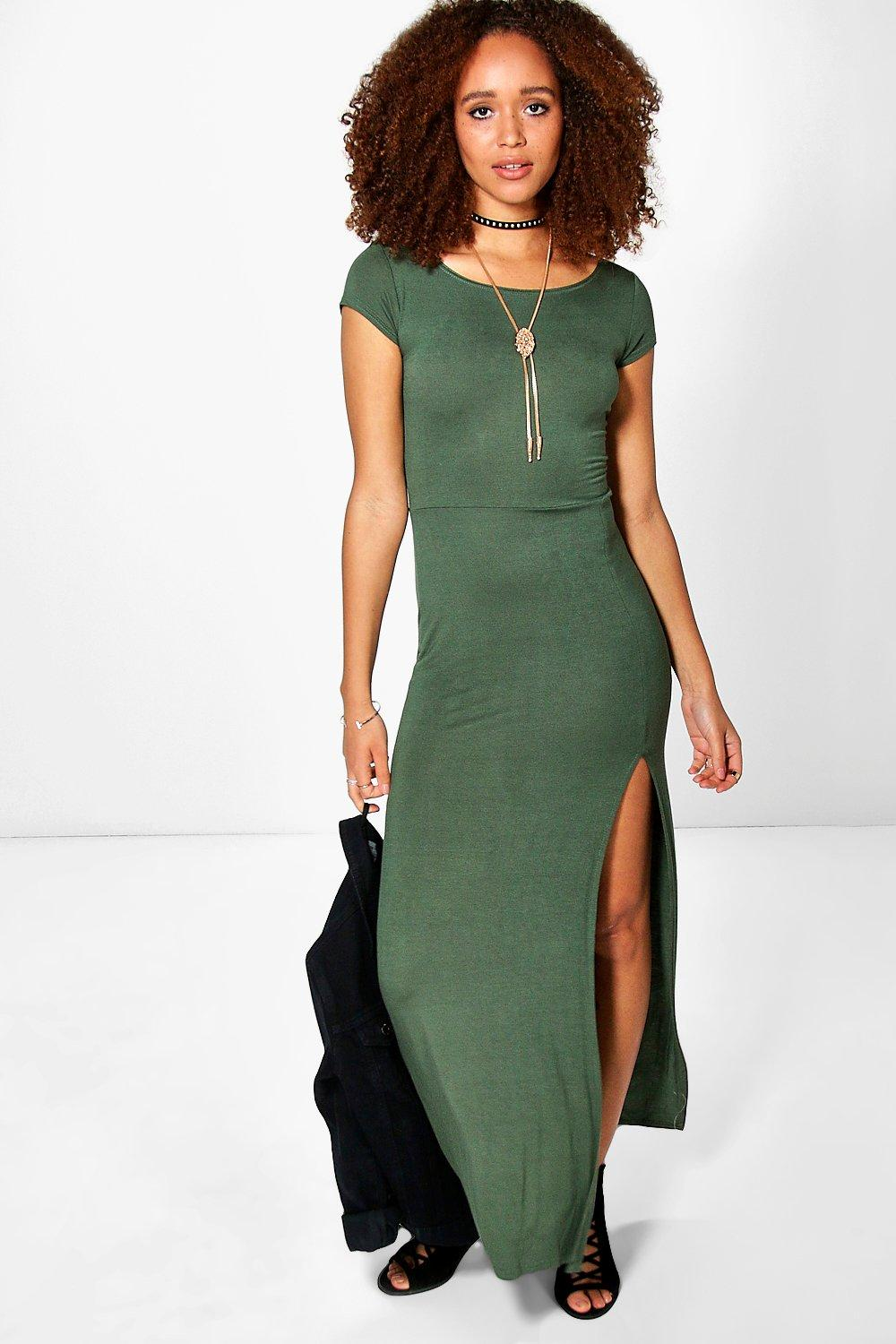 Tammy Cap Sleeve Split Front Maxi Dress
