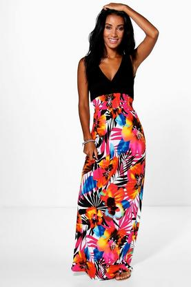 Kasey Plunge Floral Maxi Dress