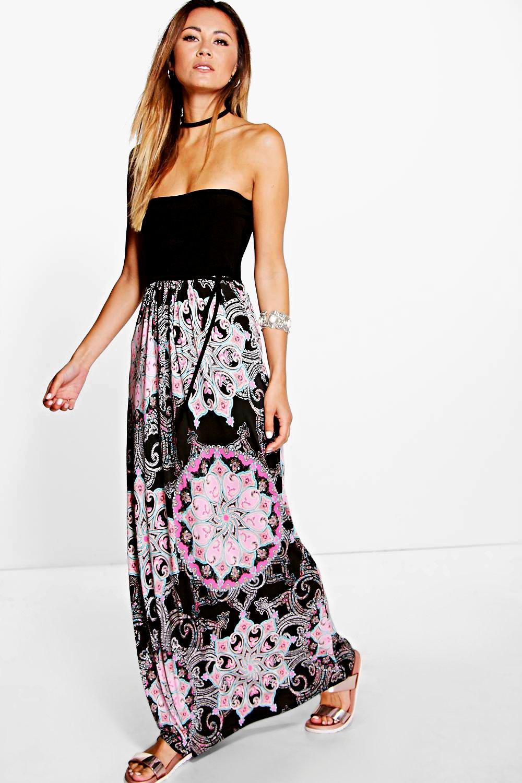 Bandeau Paisley Boarder Maxi Dress black