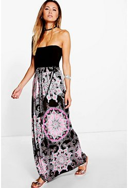 Elodie Bandeau Paisley Boarder Maxi Dress