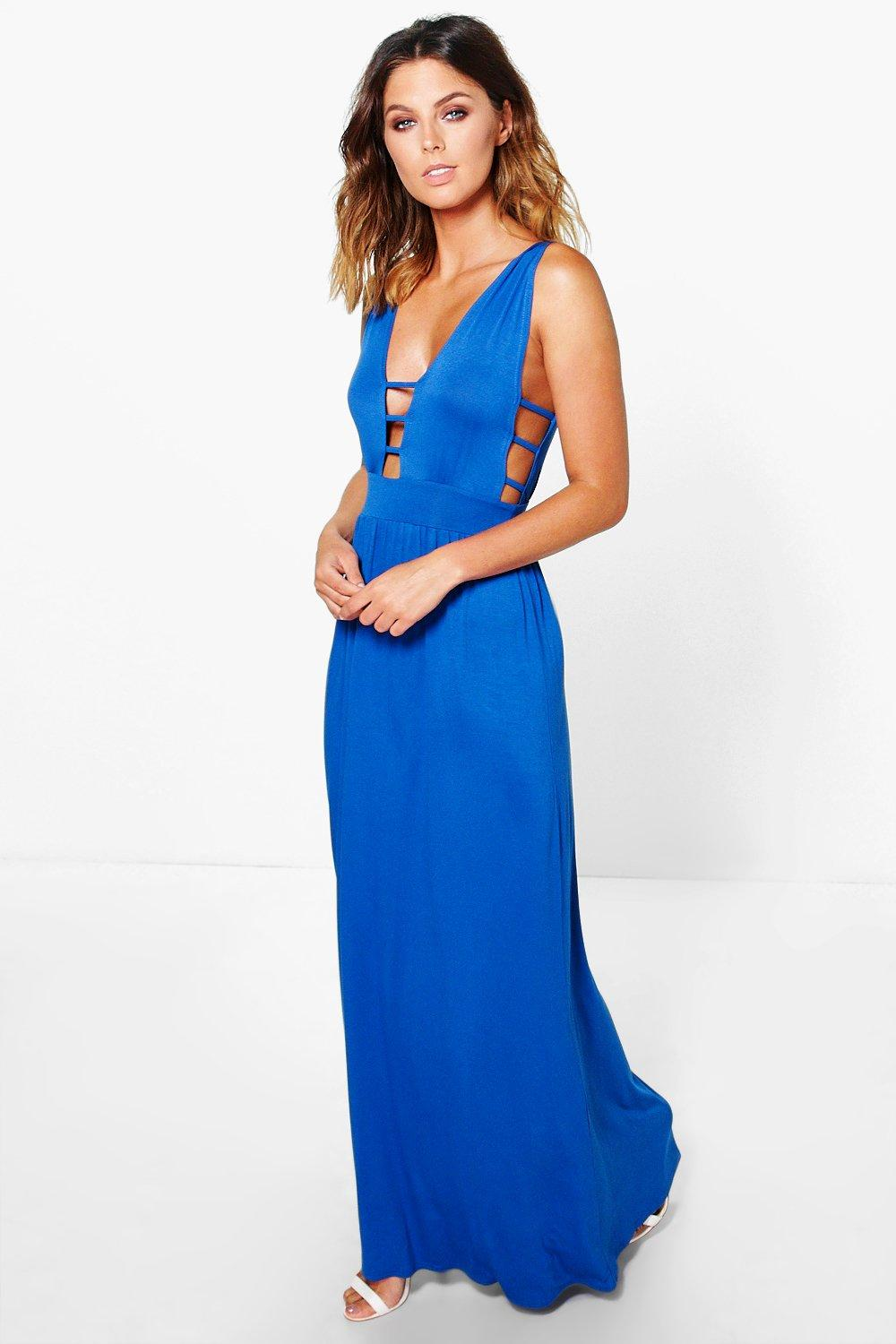 Strappy Trim Plunge Maxi Dress cobalt