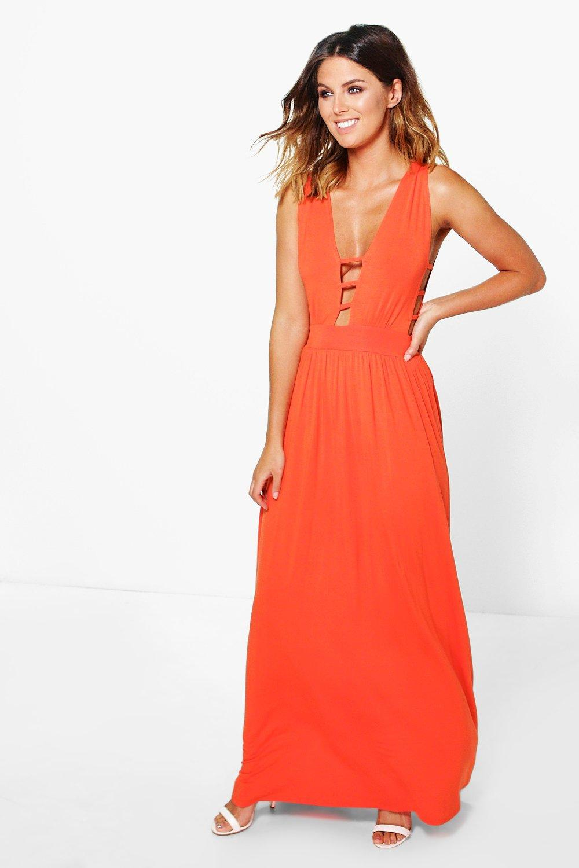 Strappy Trim Plunge Maxi Dress orange