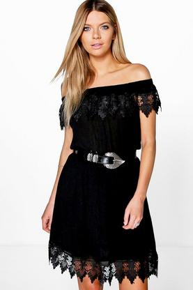Louisa Lace Trim Skater Dress