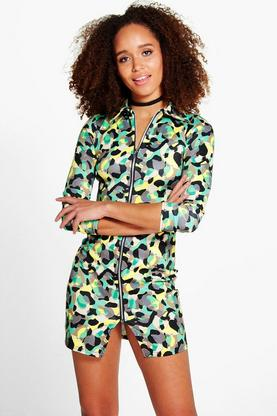 Francesca Camo Zip Front Dress