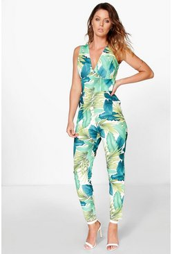 Grace Palm Print Cross Back Jumpsuit