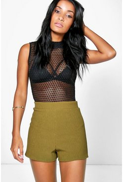 Zoe Ribbed Texture High Waist Shorts