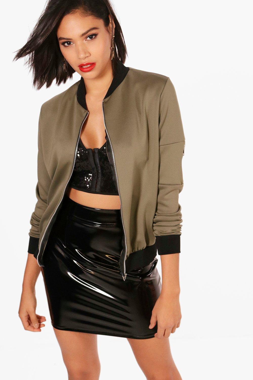 boohoo womens amelia scuba ma1 bomber jacket ebay. Black Bedroom Furniture Sets. Home Design Ideas